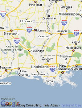 Map of Baton Rouge, LA