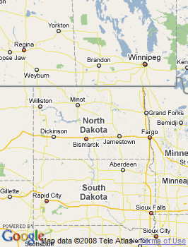 Map of Mandan, ND