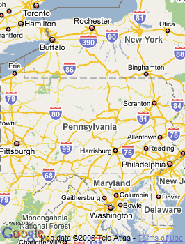 Map of Reading, PA